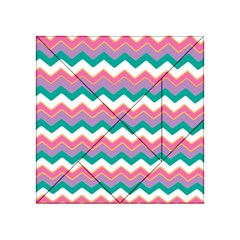 Chevron Pattern Colorful Art Acrylic Tangram Puzzle (4  X 4 )