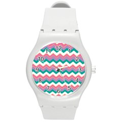 Chevron Pattern Colorful Art Round Plastic Sport Watch (m)