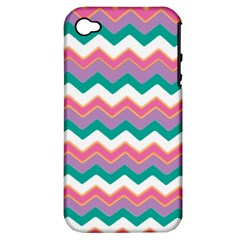 Chevron Pattern Colorful Art Apple iPhone 4/4S Hardshell Case (PC+Silicone)
