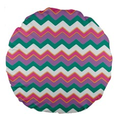Chevron Pattern Colorful Art Large 18  Premium Round Cushions