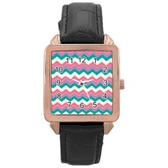 Chevron Pattern Colorful Art Rose Gold Leather Watch