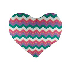 Chevron Pattern Colorful Art Standard 16  Premium Flano Heart Shape Cushions