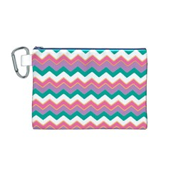 Chevron Pattern Colorful Art Canvas Cosmetic Bag (m)