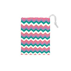 Chevron Pattern Colorful Art Drawstring Pouches (xs)