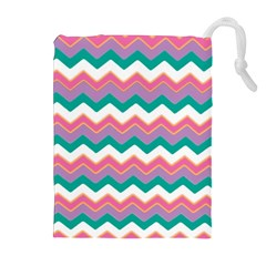 Chevron Pattern Colorful Art Drawstring Pouches (extra Large)