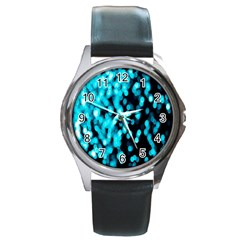 Bokeh Background In Blue Color Round Metal Watch