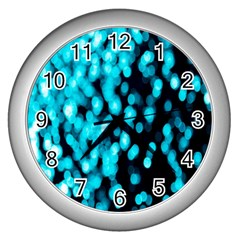 Bokeh Background In Blue Color Wall Clocks (Silver)