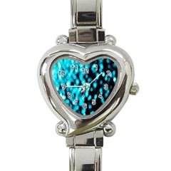 Bokeh Background In Blue Color Heart Italian Charm Watch