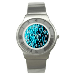 Bokeh Background In Blue Color Stainless Steel Watch