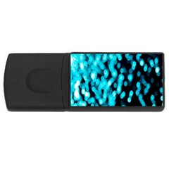 Bokeh Background In Blue Color Usb Flash Drive Rectangular (4 Gb)
