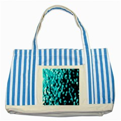 Bokeh Background In Blue Color Striped Blue Tote Bag
