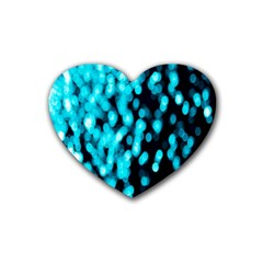 Bokeh Background In Blue Color Rubber Coaster (heart)