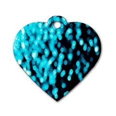 Bokeh Background In Blue Color Dog Tag Heart (two Sides)