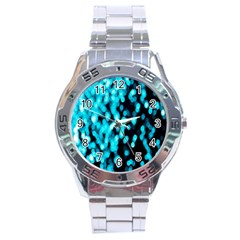 Bokeh Background In Blue Color Stainless Steel Analogue Watch