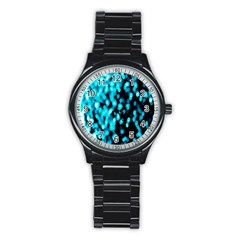 Bokeh Background In Blue Color Stainless Steel Round Watch