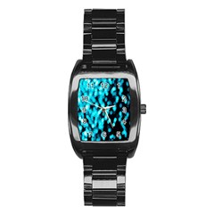 Bokeh Background In Blue Color Stainless Steel Barrel Watch