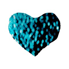 Bokeh Background In Blue Color Standard 16  Premium Flano Heart Shape Cushions
