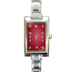 Red Background With A Pattern Rectangle Italian Charm Watch
