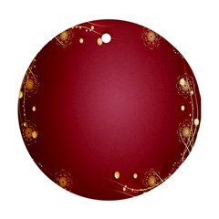 Red Background With A Pattern Ornament (Round)