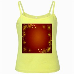 Red Background With A Pattern Yellow Spaghetti Tank