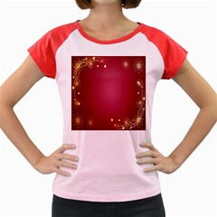 Red Background With A Pattern Women s Cap Sleeve T Shirt