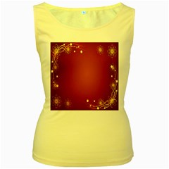 Red Background With A Pattern Women s Yellow Tank Top