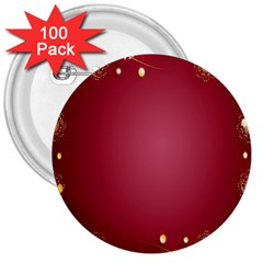 Red Background With A Pattern 3  Buttons (100 Pack)