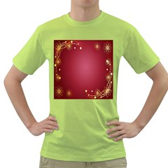 Red Background With A Pattern Green T-Shirt