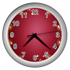 Red Background With A Pattern Wall Clocks (silver)