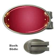 Red Background With A Pattern Money Clips (oval)
