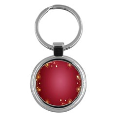Red Background With A Pattern Key Chains (round)