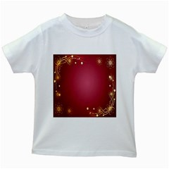 Red Background With A Pattern Kids White T Shirts