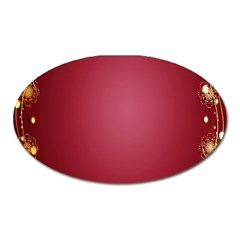 Red Background With A Pattern Oval Magnet