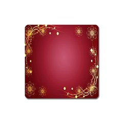 Red Background With A Pattern Square Magnet