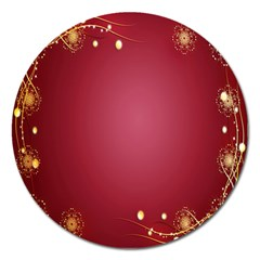 Red Background With A Pattern Magnet 5  (round)