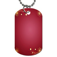 Red Background With A Pattern Dog Tag (two Sides)