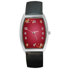 Red Background With A Pattern Barrel Style Metal Watch