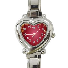 Red Background With A Pattern Heart Italian Charm Watch