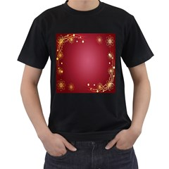 Red Background With A Pattern Men s T Shirt (black) (two Sided)