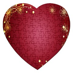 Red Background With A Pattern Jigsaw Puzzle (Heart)