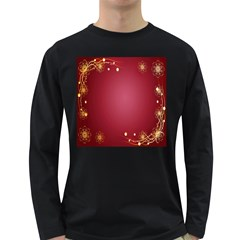 Red Background With A Pattern Long Sleeve Dark T Shirts
