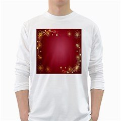 Red Background With A Pattern White Long Sleeve T Shirts
