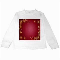 Red Background With A Pattern Kids Long Sleeve T-Shirts