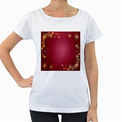 Red Background With A Pattern Women s Loose Fit T Shirt (white)