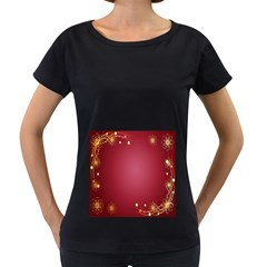 Red Background With A Pattern Women s Loose Fit T Shirt (black)
