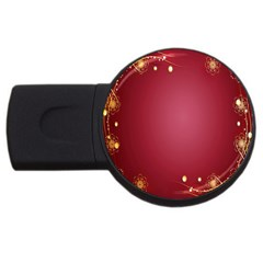 Red Background With A Pattern Usb Flash Drive Round (4 Gb)