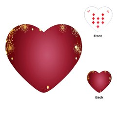 Red Background With A Pattern Playing Cards (heart)