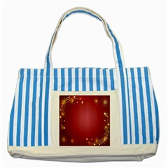 Red Background With A Pattern Striped Blue Tote Bag