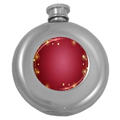 Red Background With A Pattern Round Hip Flask (5 oz)