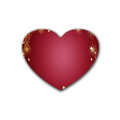 Red Background With A Pattern Rubber Coaster (Heart)